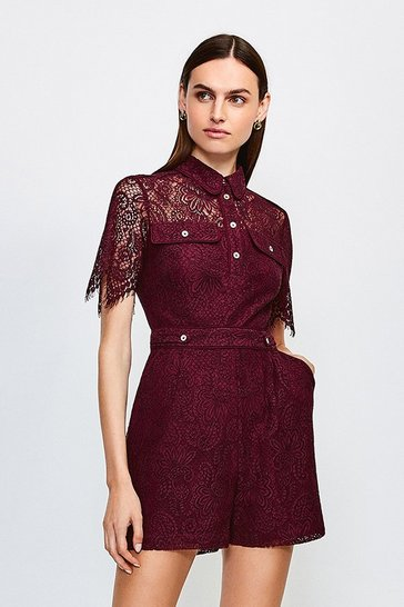 Burgundy Lace Short Sleeved Playsuit