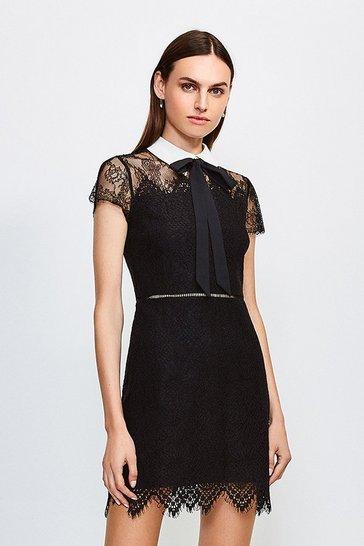 Black Lace Tie Neck Mini Dress