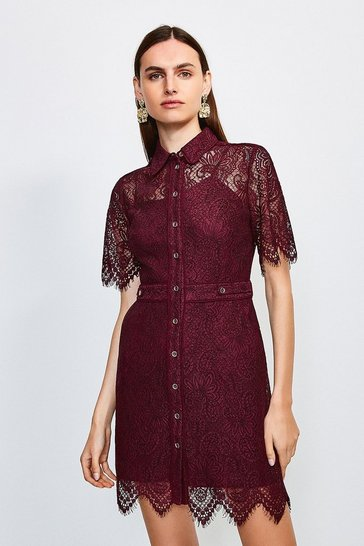 Burgundy Lace Short Sleeved Mini Dress