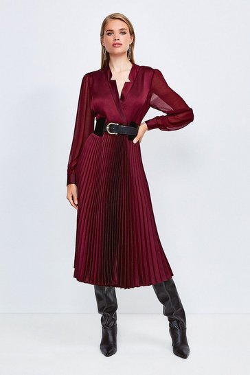 Burgundy Sheer and Opaque Pleated Wrap Dress
