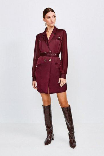 Burgundy Sheer and Opaque Belted Dress