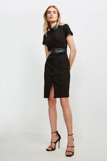 Black Pinstripe Collared Dress