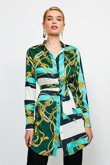 Green Italian Scarf Print Belted Tunic