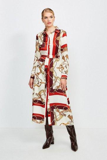Brown Italian Scarf Print Shirt Dress