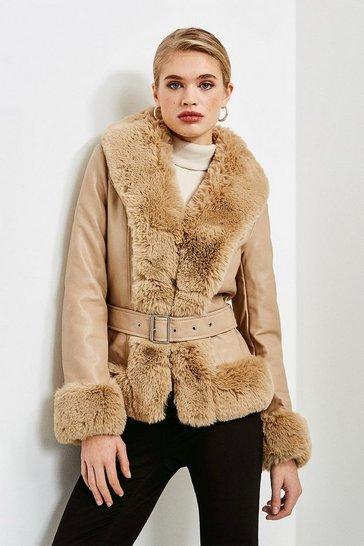 Taupe Faux Fur Trim Faux Leather Jacket