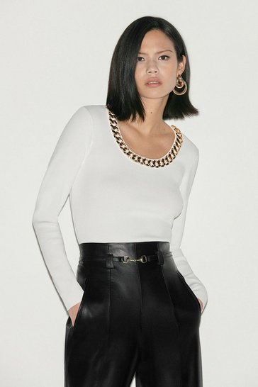 Ivory Black Label Chain Detail Scoop Neck Jumper