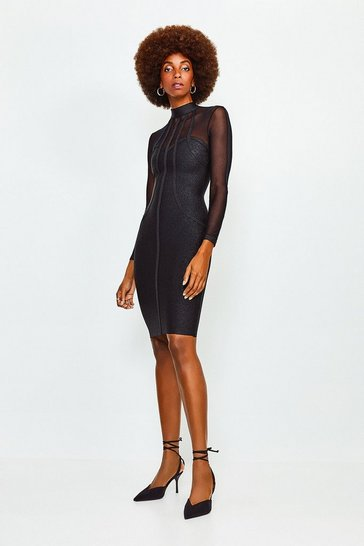 Black Sheer Sleeve Bandage Knit Dress