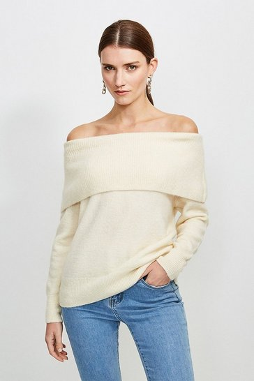 Ivory Super Soft And Cosy Bardot Jumper