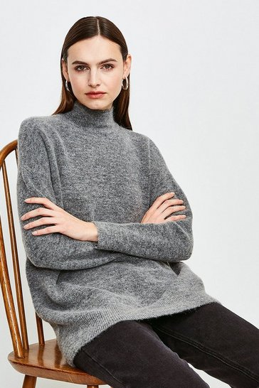 Grey marl Super Soft And Cosy Longline Roll Neck Jumper