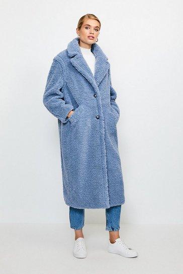 Pale blue Longline Borg Coat