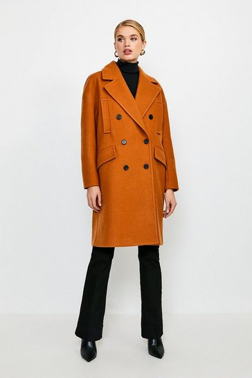 Camel Cocoon Double Breasted Coat