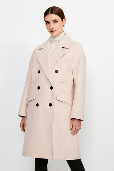 Ecru Cocoon Double Breasted Coat