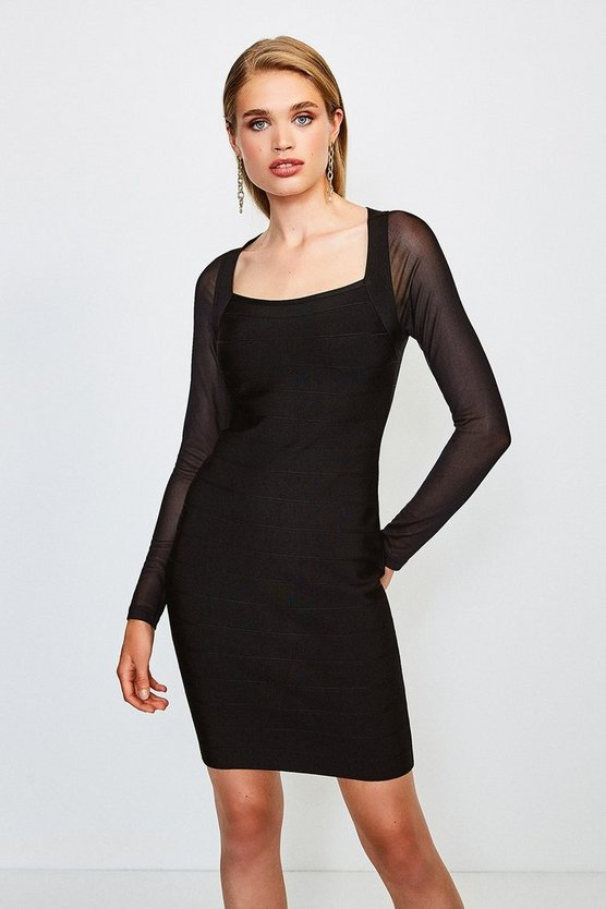 Black Mesh Sleeve Bandage Knit Square Neck Dress