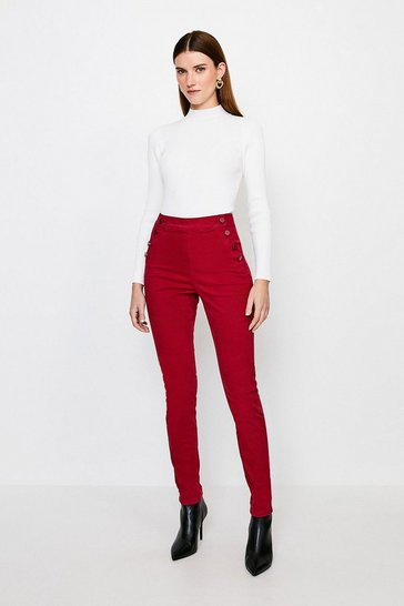 Red Stretch Twill Skinny Button Detail Jegging