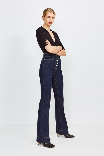 Dark wash Flared Button Front Jean