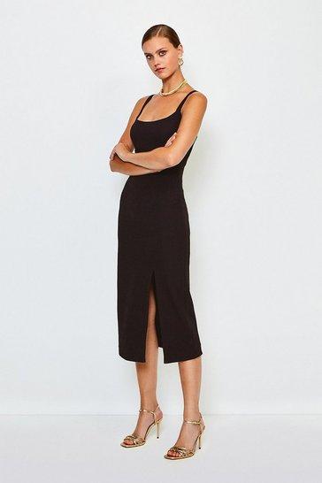 Black Bodycon Scoop Neck Midi Dress