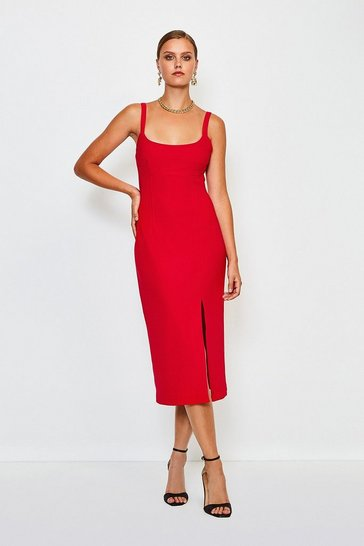 Red Bodycon Scoop Neck Midi Dress