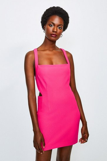 Bright pink Cross Back Bodycon Mini Dress