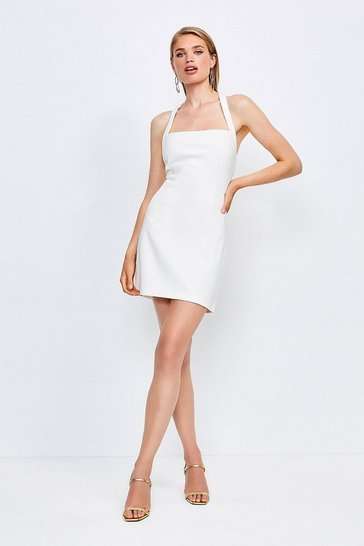 Ivory Cross Back Bodycon Mini Dress