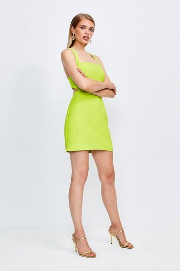Lime Cross Back Bodycon Mini Dress