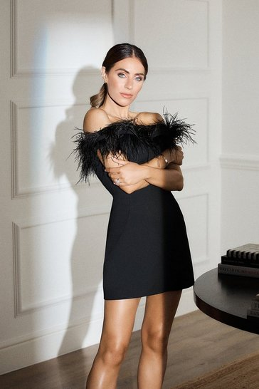 Black Feather Bardot Mini Dress