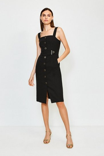 Black Square Neck Button Detail Dress