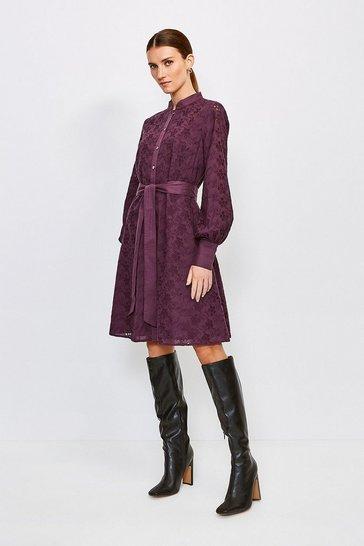 Burgundy Cotton Broderie Shirt Dress