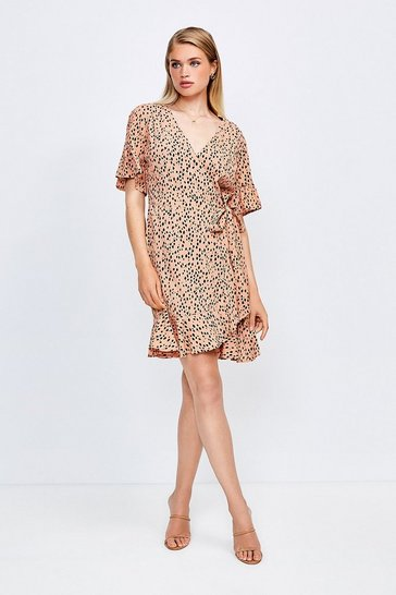 Dusky pink Mix Spot Viscose Wrap Dress