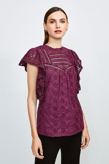 Burgundy Cotton Broderie Sleeveless Shirt