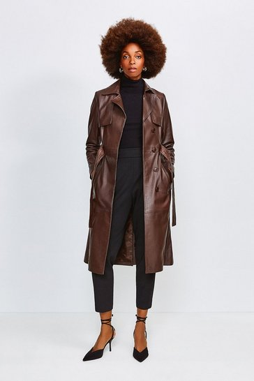 Chocolate Leather Trench Coat