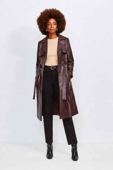 Fig Leather Trench Coat