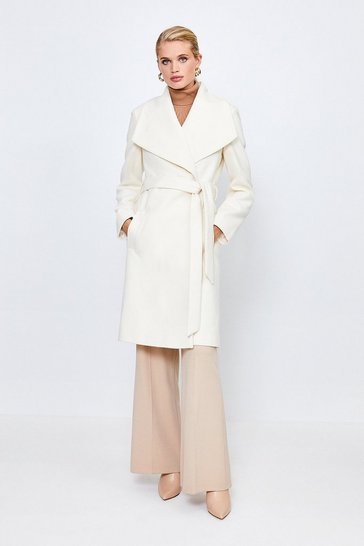 Ivory Belted Wrap Coat