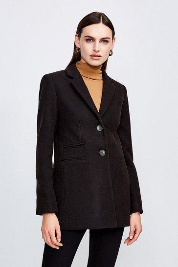 Black Button Through Formal Coat