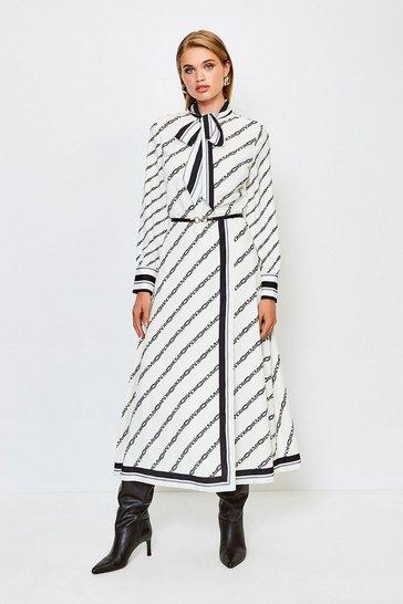 Ivory Logo Border Print Midi Dress