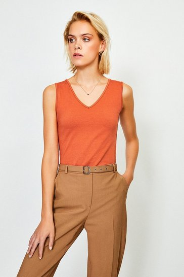 Rust V Neck Jersey Vest Top