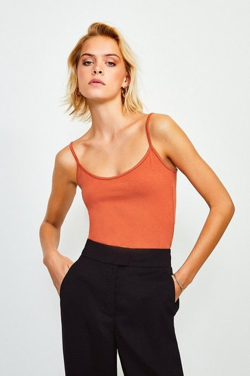 Rust Jersey Strappy Vest Top