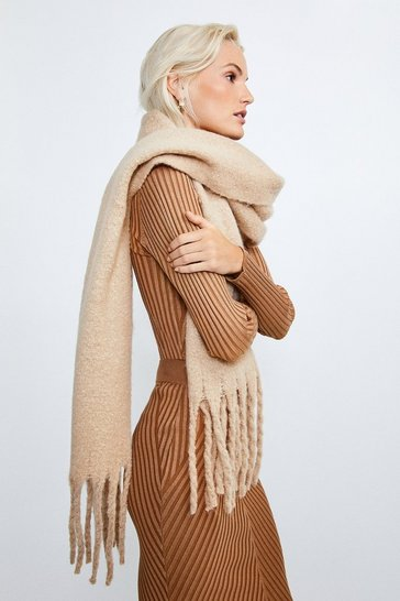Camel Oversized Knitted Scarf
