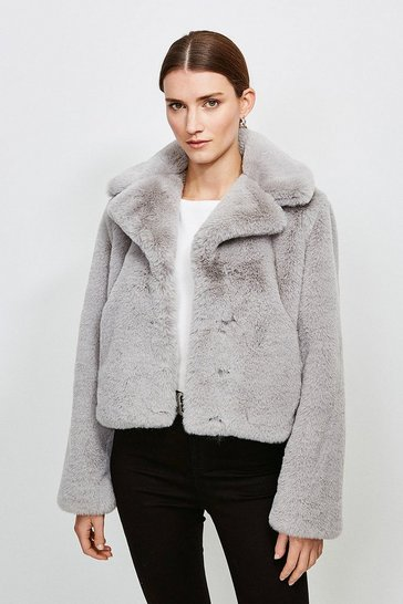 Grey Cropped Faux Fur Jacket