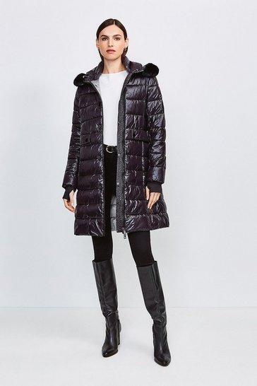 Black Fur Trim Hood Lightweight Padded Coat