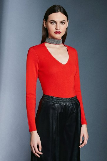 Red Diamante Neck Knit Jumper