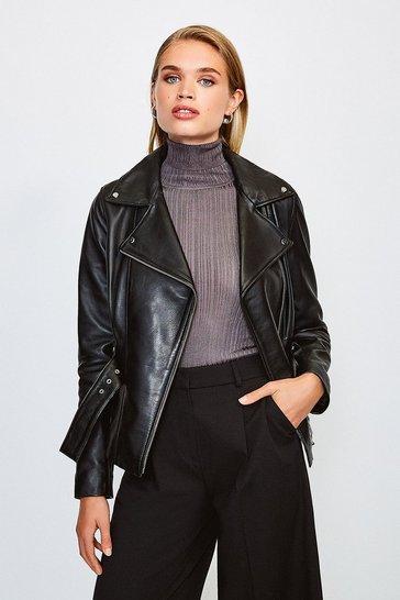 Black Leather Belted Jacket
