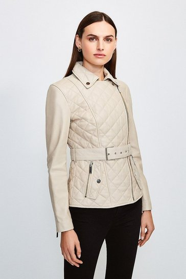Cream Leather Belted Quilted Jacket