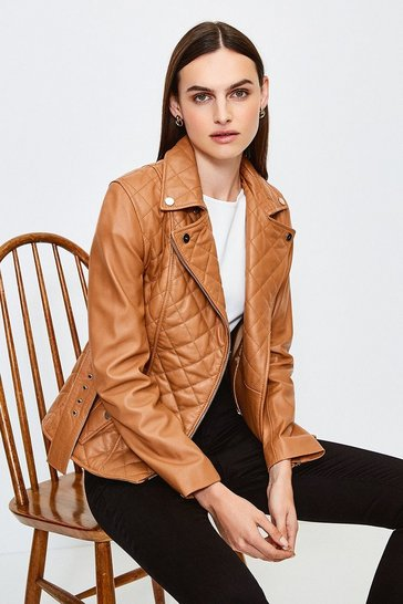 Tan Leather Belted Quilted Jacket