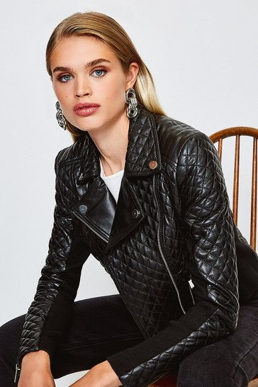 Black Leather Quilted And Knit Panel Biker Jacket
