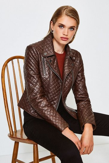 Brown Leather All Over Quilted Biker Jacket