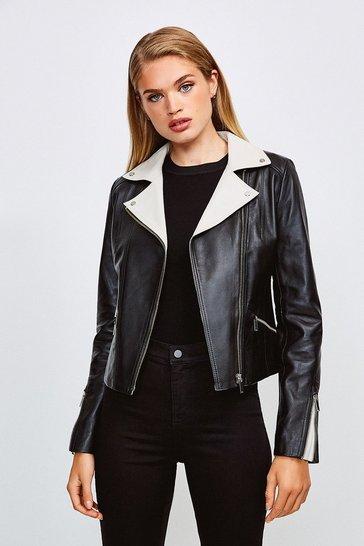Black Leather Monochrome Signature Biker Jacket