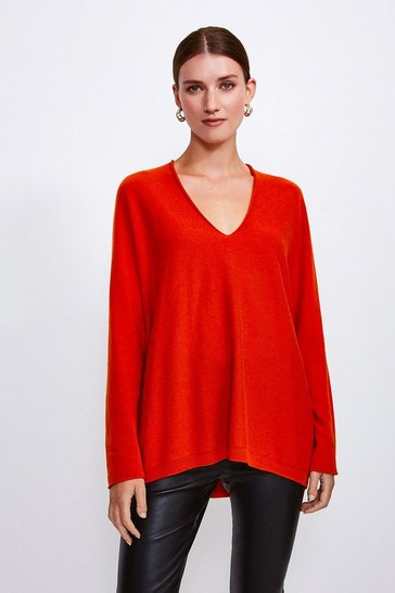 Orange Cashmere Blend V-Neck Jumper