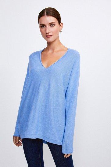 Pale blue Cashmere Blend V-Neck Jumper