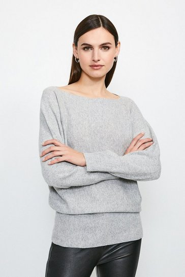 Light grey Cashmere Blend Tunic Jumper
