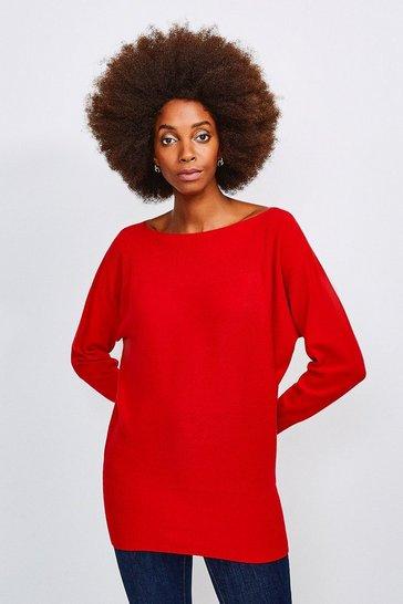 Red Cashmere Blend Tunic Jumper